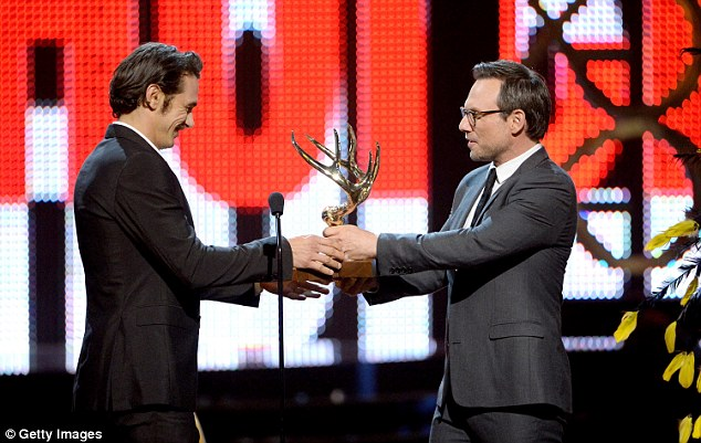 Gracious: Honoree James accepted the Virtuoso awards onstage from actor Christian Slater