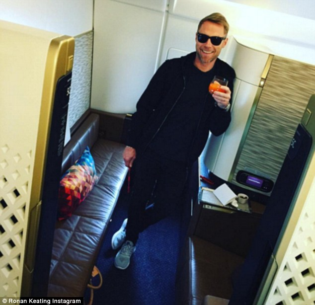 Lapping it up! Ronan Keating gave his Instagram followers a glimpse of the high life from inside the First Class cabin en route to Sydney at the weekend