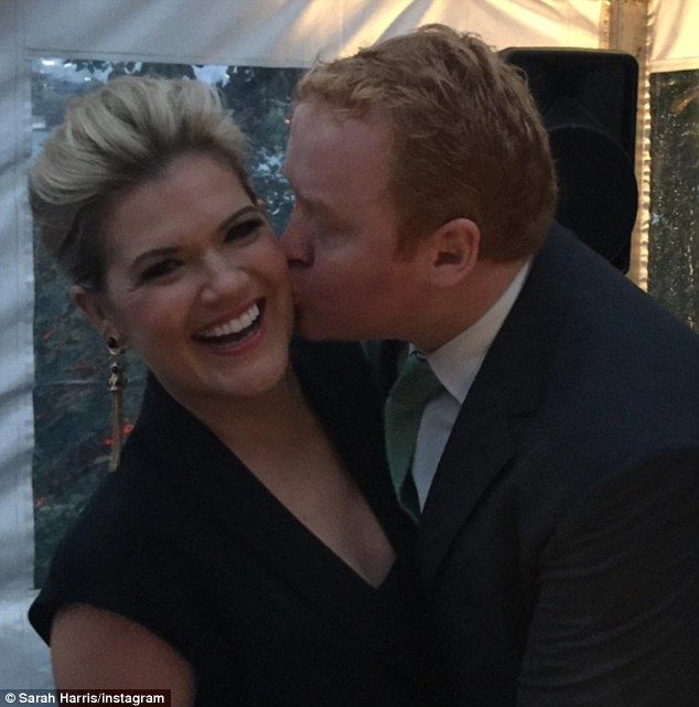 Date night! Studio 10's Sarah Harris and husband Tom Ward enjoyed time together at a friend's wedding at the weekend, leaving their five-month-old son Paul at home