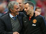 MANCHESTER, ENGLAND - AUGUST 26:  Ryan Giggs of Manchester United greets manager Jose Mourinho of Chelsea ahead of the Barclays Premier League match between Manchester United and Chelsea at Old Trafford on August 26, 2013 in Manchester, England.  (Photo by Matthew Peters/Man Utd via Getty Images)