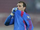 Northern Ireland's goalkeeper Roy Carroll kisses the badge on his shirt after the Group F Euro 2016 qualifying soccer match against Greece at the Georgios Karaiskakis stadium, in the port of Piraeus, Greece on Oct. 14, 2014.  Northern Ireland won 2-0.     (AP Photo/Thanassis Stavrakis)