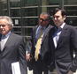 Former pharmaceutical executive Martin Shkreli, right, leaves federal court with his attorney Benjamin Brafman, left, Monday, June 6, 2016, in New York. The indictment filed a week earlier alleged Shkreli and his former attorney Evan Greebel schemed to defraud potential investors of his former drug company Retrophin Inc., based in San Diego. Both men pleaded not guilty Monday. (AP Photo/Tom Hays)