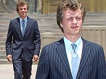 Conrad Hilton appears happy with his probation sentence for his mid-flight meltdown as he leaves the Los Angeles Federal court with his parents Richard and Kathy Hilton.....Pictured: Conrad Hilton Richard Hilton, Kathy Hilton..Ref: SPL1053439  160615  ..Picture by: Deano / Hector  / Splash News....Splash News and Pictures..Los Angeles: 310-821-2666..New York: 212-619-2666..London: 870-934-2666..photodesk@splashnews.com..