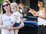 """*EXCLUSIVE* Sherman Oaks, CA - Emily Blunt is seen playing with daughter Hazel at the park. The 33-year-old actress is expecting her second child with husband John Krasinski. Emily is wearing black leggings paired with a """"Laurel Canyon"""" muscle tank and flip flops. \nAKM-GSI          June 6, 2016\nTo License These Photos, Please Contact :\nMaria Buda\n(917) 242-1505\nmbuda@akmgsi.com\nsales@akmgsi.com\nor \nMark Satter\n(317) 691-9592\nmsatter@akmgsi.com\nsales@akmgsi.com\nwww.akmgsi.com"""