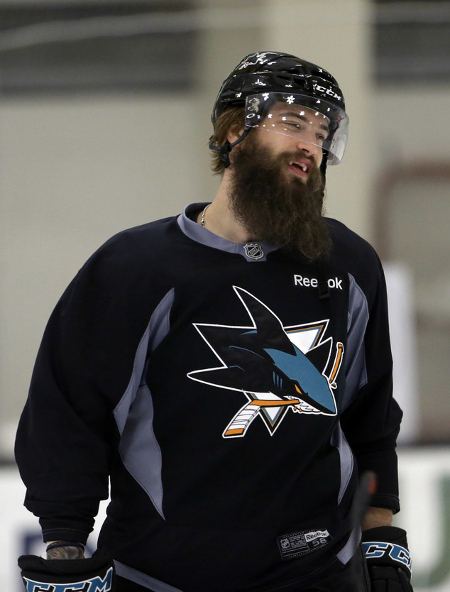 San Jose Sharks' Brent Burns smiles during an NHL hockey practice Friday, May 27, 2016, in San Jose, Calif. San Jose will play Pittsburgh in the Stanley Cup ...