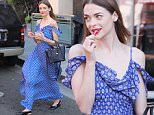 Beverly Hills, CA - Jaime King is interviewed by a videographer as she waits for her ride curbside outside of a medical building in Beverly Hills in a blue flowing full-length dress and flats, while sucking on a lollypop and sipping on a iced coffee.\n AKM-GSI June 7, 2016\nTo License These Photos, Please Contact :\nMaria Buda\n(917) 242-1505\nmbuda@akmgsi.com\nsales@akmgsi.com\nor \nMark Satter\n (317) 691-9592\n msatter@akmgsi.com\n sales@akmgsi.com\n www.akmgsi.com\n