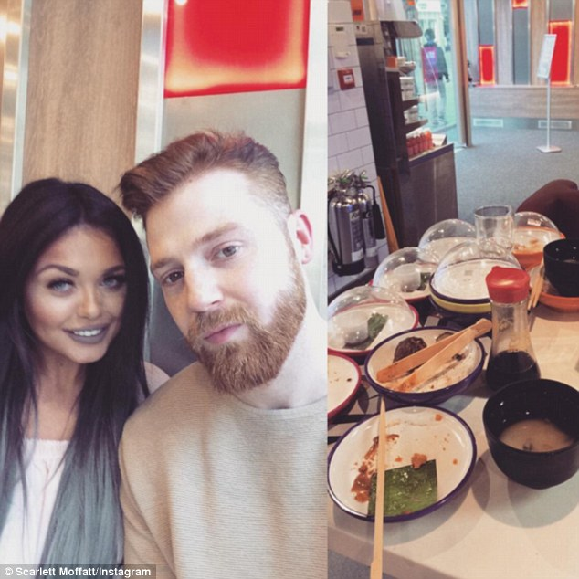 Just the two of us: Scarlett shared several loved-up selfies of herself with boyfriend Luke as they dined at a sushi restaurant chain