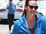 """Brentwood, CA - Jennifer Garner heads to her daily workout at a gym in Brentwood after voting for the California Presidential Primary. Jennifer wore a """"I Voted"""" sticker as she took a call on her way to the gym.\n \n AKM-GSI June 7, 2016\nTo License These Photos, Please Contact :\nMaria Buda\n(917) 242-1505\nmbuda@akmgsi.com\nsales@akmgsi.com\nor \nMark Satter\n (317) 691-9592\n msatter@akmgsi.com\n sales@akmgsi.com\n www.akmgsi.com\n"""