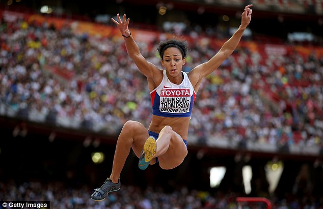 Johnson-Thompson pictured during one of her attempts in the heptathlon long jump
