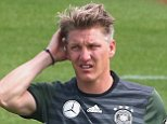 EVIAN-LES-BAINS, FRANCE - JUNE 08:  Bastian Schweinsteiger of Germany looks on during a Germany training session ahead of the UEFA EURO 2016 at Ermitage Evian on June 8, 2016 in Evian-les-Bains, France. Germany's opening match at the European Championship is against Ukraine on June 12.  (Photo by Alexander Hassenstein/Getty Images,)
