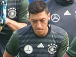 EVIAN-LES-BAINS, FRANCE - JUNE 08:  (L-R) Bastian Schweinsteiger of Germany warms up with his team mates Mesut Oezil, Mario Gomez and Jerome Boateng during a Germany training session ahead of the UEFA EURO 2016 at Ermitage Evian on June 8, 2016 in Evian-les-Bains, France. Germany's opening match at the European Championship is against Ukraine on June 12.  (Photo by Alexander Hassenstein/Getty Images,)