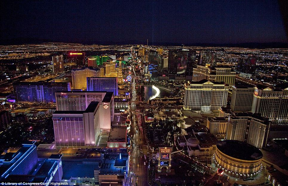 Bright lights: An aerial photograph taken at night from a helicopter of the Las Vegas Strip
