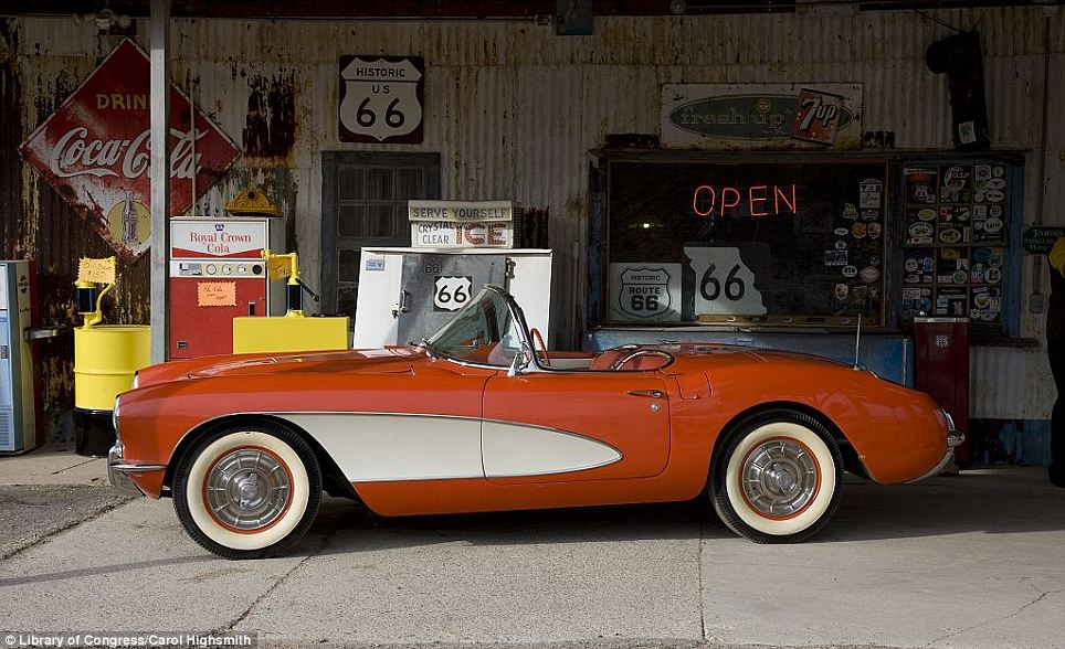Go faster stripe: A Corvette car at Hackberry General Store, on Route 66, Hackberry, Arizona