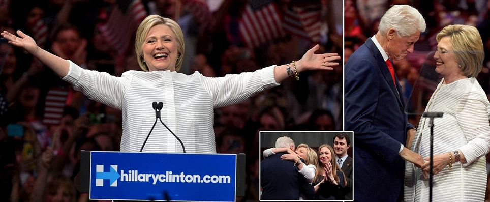 Hillary Clinton claims victory as the first woman Democratic nominee