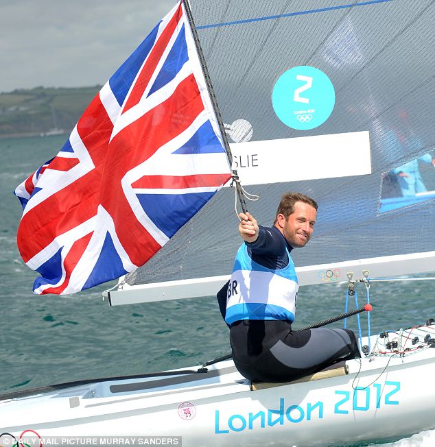 Victory lap: Ben Ainslie holds the Union flag from his Finn class boat after taking gold in the event and becoming the most decorated sailor in Olympic history