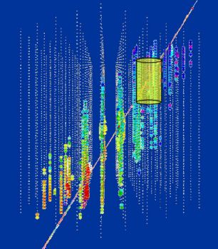 IceCube will encompass AMANDA (yellow cylinder) a smaller neutrino detector.