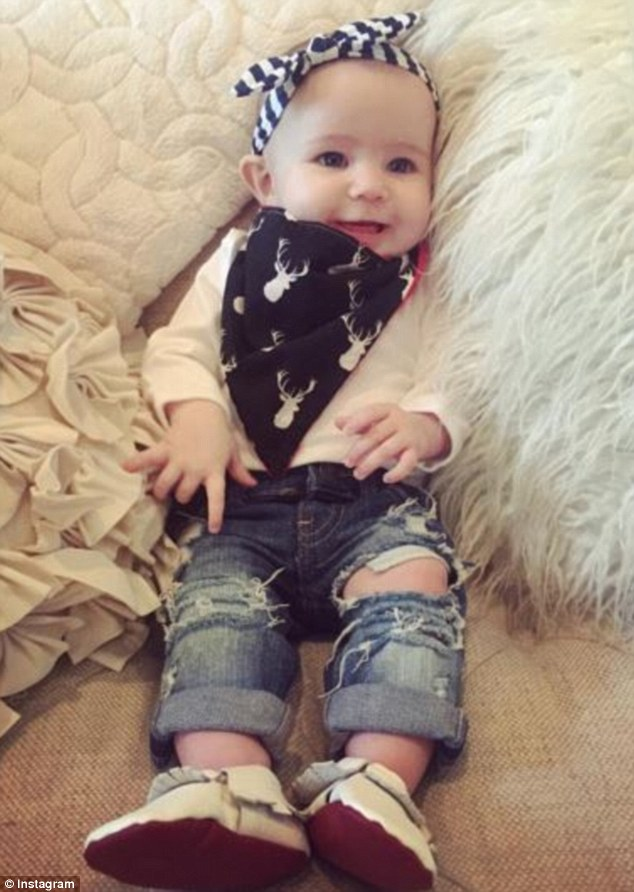 Stylish tot: Earlier this month, Bristol posted a photo of Sailor wearing ripped jeans, a deer-print neckerchief and a nautical-striped hairband