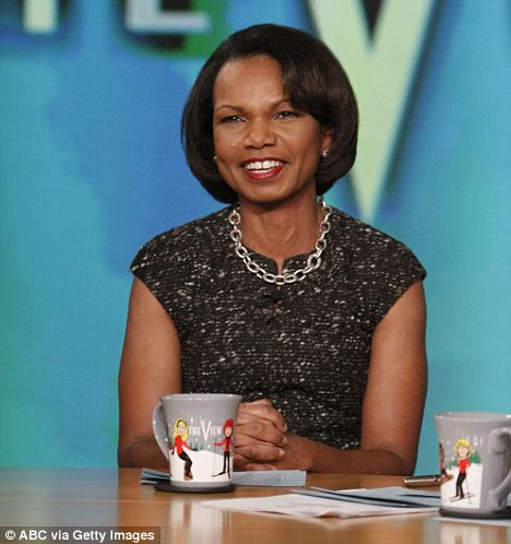 Taking questions: Ms Rice appeared on talk show The View earlier this month while promoting her memoir about her time as Secretary of State