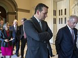 Sen. Ted Cruz, R-Texas, center, walks with Senate Foreign Relations Committee Chairman Sen. Bob Corker, R-Tenn., right, as senators walk to the House Chamber on Capitol Hill in Washington, Wednesday, June 8, 2016, for an address by Indian Prime Minister Narendra Modi. (AP Photo/J. Scott Applewhite)