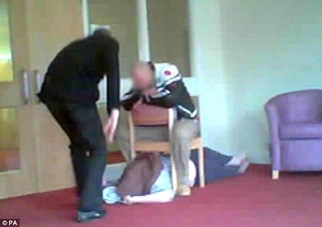 Shocking: The undercover footage also showed patients being slapped and dragged into showers while fully clothed, while others were taunted and teased