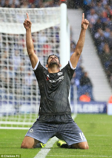 Costa celebrates his goal for Chelsea against West Brom