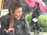 Michelle Keegan returns to film the BBC army drama Our Girl, that is until torrential rain and a thunderstorm stopped the filming.\\nPIC BY MARK CAMPBELL/MCPIX O7778 526193\\n