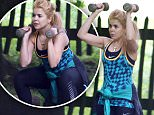 LONDON, ENGLAND - JUNE 08:  Paloma Faith seen exercising with a personal trainer in her local park on June 8, 2016 in London, England.  (Photo by Neil Mockford/GC Images)