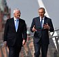 """DERRY, NORTHERN IRELAND - JUNE 9: Sir John Major and Tony Blair speak as they walk across the Peace Bridge on June 9, 2016 in Derry, Northern Ireland. Former Prime Ministers Sir John Major and Tony Blair travelled to Derry City in Northern Ireland warning that voting to leave the EU could """"jeopardise the unity"""" of the UK. They suggested that it may cause Scotland to re-visit an independence referendum and put Northern Ireland's """"future at risk"""".  Both politicians were instrumental in bringing peace to the region.  The Vote Leave campaign has said the idea that a Brexit could threaten the Northern Ireland Peace Process was irresponsible. (Photo by Jeff J Mitchell/Getty Images)"""