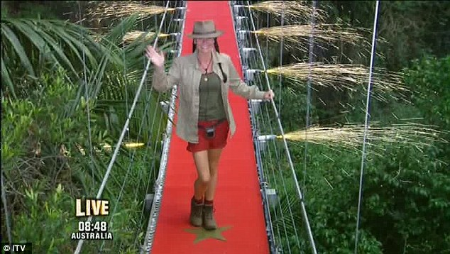 A fond farewell: Lucy Pargeter waves as she leaves the jungle after finishing in third place on I'm A Celebrity