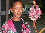 09.June.2016 - Santa Monica - USA *STRICTLY AVAILABLE FOR UK AND GERMANY USE ONLY* *EXCLUSIVE ALL ROUND PICTURES*  Rihanna is channeling Japanese fashion in a short kimono inspired dress. She looks stunning as she is seen leaving favorite Italian eatery, Giorgio Baldi. She is glowing as she walks to her ride in the floral patterned dress, silver heels, with simple make-up and her hair pulled back for a chic and effortless look. BYLINE MUST READ : AKM-GSI-XPOSURE ***UK CLIENTS - PICTURES CONTAINING CHILDREN PLEASE PIXELATE FACE PRIOR TO PUBLICATION *** *UK CLIENTS MUST CALL PRIOR TO TV OR ONLINE USAGE PLEASE TELEPHONE 0208 344 2007*