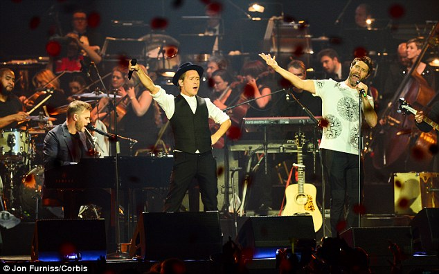 Time to party: The O2 hosted a celebration of rugby and music ahead of the World Cup, which this year is being hosted by England, with Take That taking the stage