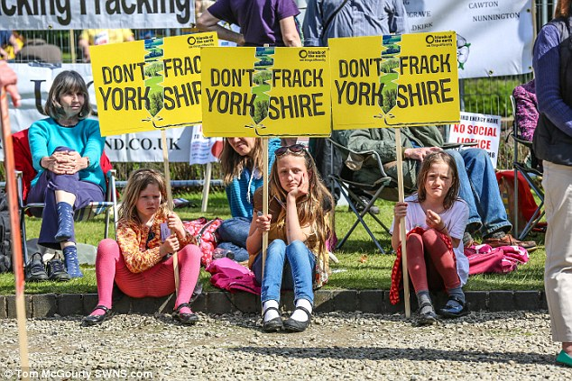 Protesters, pictured, were left devastated by the decision, which could open up rural England to drilling