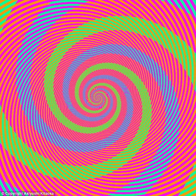 The picture appears to show green, blue and pink swirls - but not all is as it seems