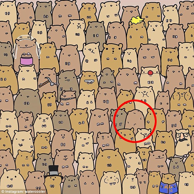 But nestled behind two hamsters that aren't dressed up at all is the potato in the fourth row from the bottom and four spots from the right