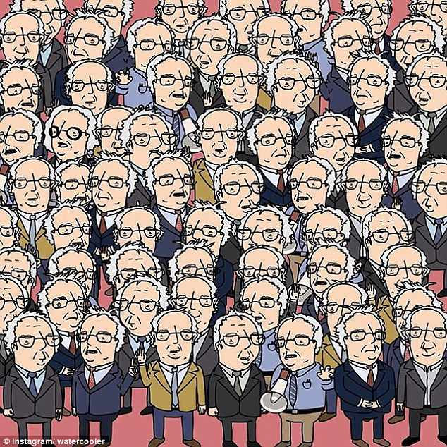 In another Max Knoblauch illustration, the reader is challenged to find Doc Brown, Christopher Lloyd's character in the Back to the Future films, amid dozens of Bernie Sanders
