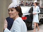 The Duchess of Cambridge  arrives at St Paul's Cathedral in London for a national service of thanksgiving to celebrate the 90th birthday of Queen Elizabeth II. PRESS ASSOCIATION Photo. Picture date: Friday June 10, 2016. See PA story ROYAL Birthday. Photo credit should read: Steve Parsons/PA Wire