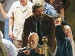 153427, EXCLUSIVE: Hugh Jackman and Patrick Stewart film scenes for Wolverine 3. Hugh Jackman who plays Logan/Wolverine pushes Patrick Stewart as Charles Xavier/Professor X in a wheelchair as they rush out of a set built casino and into a truck.  New Orleans, Louisiana - Thursday June 09, 2016. Photograph: © PacificCoastNews. Los Angeles Office: +1 310.822.0419 UK Office: +44 (0) 20 7421 6000 sales@pacificcoastnews.com FEE MUST BE AGREED PRIOR TO USAGE