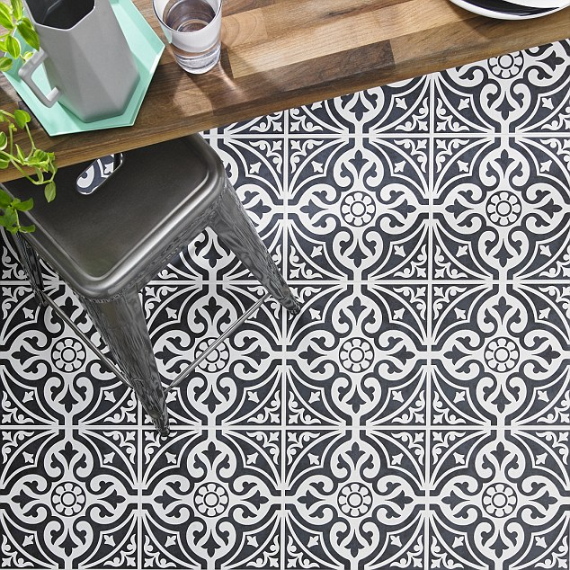 Monochrome magic: Make a statement on the floor with patterned tiles like this one by British Ceramic Tile