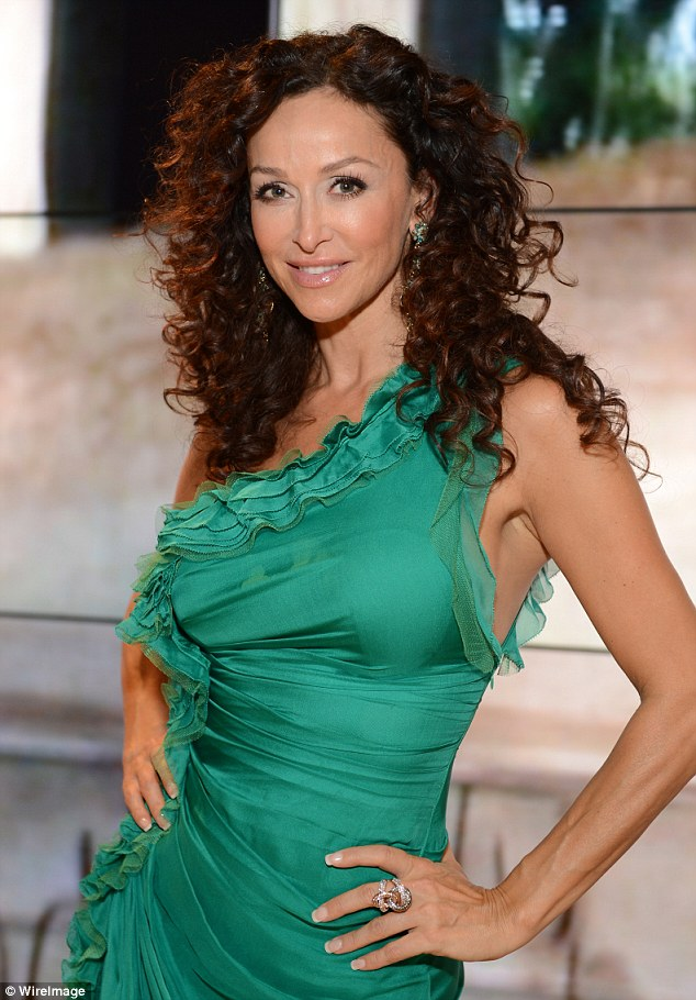 Emerald city: CSI: Miami star Sofia Milos was stunning in her green dress with ruffled details
