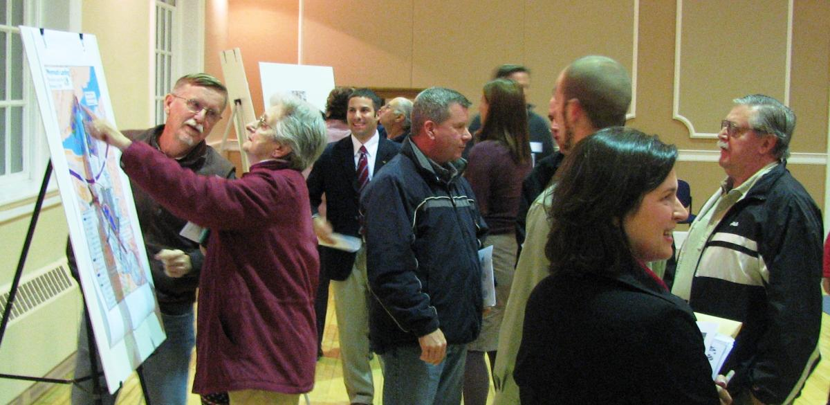 Courtesy of Chris Brown. Braintree and Weymouth residents review maps and exchange ideas at the November 18 workshop. 2009.