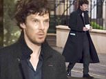 CARDIFF, WALES - JUNE 09:  Benedict Cumberbatch (L) spotted with an actor believed to be Sian Brooke (R) during filming for the fourth series of BBC show Sherlock on Charles Street on June 9, 2016 in Cardiff, Wales.  (Photo by Matthew Horwood/GC Images)