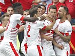 Football Soccer - Albania v Switzerland - EURO 2016 - Group A - Stade Bollaert-Delelis, Lens, France - 11/6/16  Switzerland's Fabian Schar celebrates with teammates after scoring their first goal  REUTERS/Carl Recine  Livepic