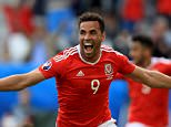 Wales' Hal Robson-Kanu celebrates scoring his side's second goal of the game during the UEFA Euro 2016, Group B match at the Stade de Bordeaux, Bordeaux. PRESS ASSOCIATION Photo. Picture date: Saturday June 11, 2016. See PA story SOCCER Wales. Photo credit should read: Mike Egerton/PA Wire. RESTRICTIONS: Use subject to restrictions. Editorial use only. Book and magazine sales permitted providing not solely devoted to any one team/player/match. No commercial use. Call +44 (0)1158 447447 for further information.