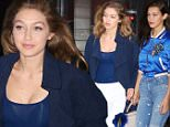New York, NY - Sisters Gigi and Bella Hadid enjoy a night out at Nobu in Tribeca. The siblings were both feeling blue as they are seen wearing outfits in varying shades of blue.\n  \nAKM-GSI       June 9, 2016\nTo License These Photos, Please Contact :\nMaria Buda\n(917) 242-1505\nmbuda@akmgsi.com\nsales@akmgsi.com\nMark Satter\n(317) 691-9592\nmsatter@akmgsi.com\nsales@akmgsi.com\nwww.akmgsi.com