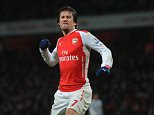 Barclays Premier League Game, Arsenal v Queens Park Rangers at the Emirates Stadium  Tomas Rosicky celebrates scoring and making it 2-0  Arsenal won the game 2-1.