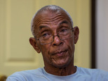 U.S. fugitive Charles Hill listens to a question during an interview in Havana, Cuba, Friday, June 10, 2016. Hill, 66, who is sought in the 1971 killing of a New Mexico state policeman, told The Associated Press that Cuban contacts recently assured him he was at no risk of extradition. (AP Photo/Desmond Boylan)