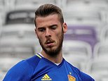 epa05359369 Spanish goalkeeper David De Gea during a training session at Stade Municipal de Toulouse in Toulouse, France, 12 June 2016. Spain will face Czech Republic in the UEFA EURO 2016 soccer championship group D preliminary round match at Stade Municipal de Toulouse in Toulouse on 13 June 2016.ø (RESTRICTIONS APPLY: For editorial news reporting purposes only. Not used for commercial or marketing purposes without prior written approval of UEFA. Images must appear as still images and must not emulate match action video footage. Photographs published in online publications (whether via the Internet or otherwise) shall have an interval of at least 20 seconds between the posting.)  EPA/ARMANDO BABANI   EDITORIAL USE ONLY