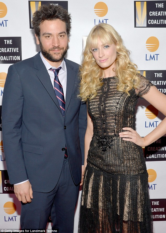 Sitcom stars: How I Met Your Mother's Josh Radnor looked dapper in a grey suit as he posed with Beth at the event