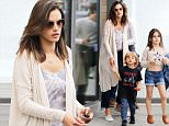 Los Angeles, CA - Alessandra Ambrosio spends a fun Saturday out with her family at Jon & Vinny's. Alessandra's 7 yr old daughter was dressed very maturely in a cropped sweater, short denim shorts, and brown leather mules.\n  \nAKM-GSI       June 11, 2016\nTo License These Photos, Please Contact :\nMaria Buda\n(917) 242-1505\nmbuda@akmgsi.com\nsales@akmgsi.com\nMark Satter\n(317) 691-9592\nmsatter@akmgsi.com\nsales@akmgsi.com\nwww.akmgsi.com