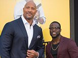 """WESTWOOD, CA - JUNE 10:  Actors Dwayne Johnson and Kevin Hart attend the premiere of Warner Bros. Pictures' """"Central Intelligence"""" at Westwood Village Theatre on June 10, 2016 in Westwood, California.  (Photo by Jason Kempin/Getty Images)"""
